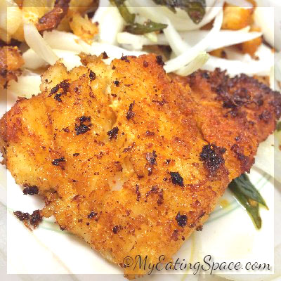 Fried Fish with Ginger-garlic paste, a Kerala style fish fry
