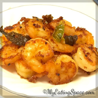 Make a healthy and spicy Ginger- Chilli Prawn /shrimp fry with a few ingredients.