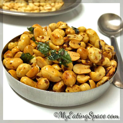 Spicy Garlic Roasted Peanuts - My Eating Space