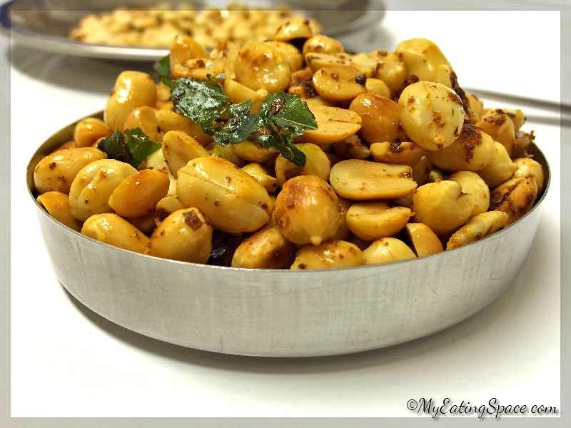 Hot and spicy peanuts roasted with fresh garlic makes a wonderful and healthy, gluten free snack to munch on.