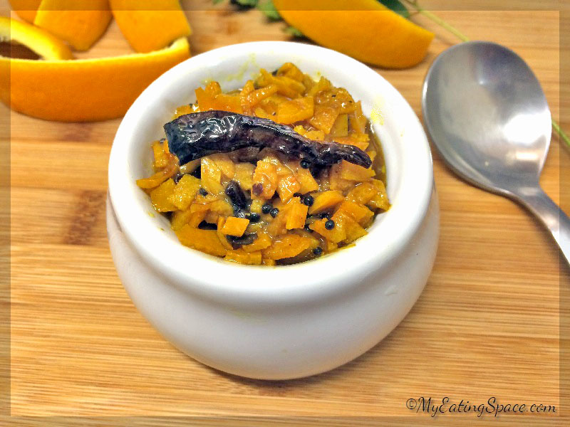 Orange peel curry (orange skin) is a delicious tangy flavored side dish made with spicy tamarind juice. This can be used as a pickle as well.