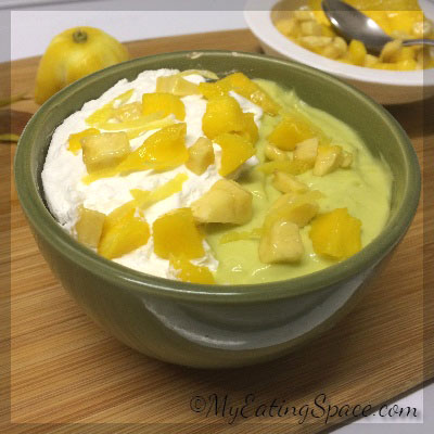 Avocado Fruit Smoothie bowl makes a healthy visual treat for breakfast or dinner. The smoothie bowls make a better and light alternative to ice creams.