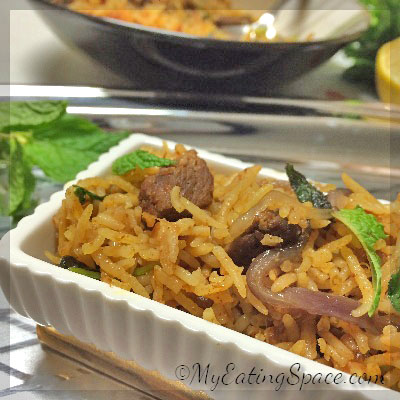 Beef biryani , the royal dish from Indian cuisine, makes a unique dish with the perfect blend of rice, meat, spices and herbs. This meat rice makes the ultimate main entree dish with its spicy aroma. they make a satisfying gluten-free rice dish.