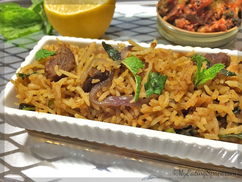 beef biryani spicy meat rice my eating space