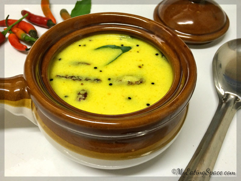 Pulissery,an authentic Kerala dish, is an inevitable part of Onam sadya. The curry can be prepared in less time and goes well with hot rice. The spiced buttermilk is a probiotic rich curry dish which is purely vegetarian and gluten-free.