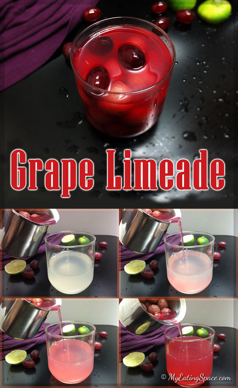 Grape limeade is a non alcoholic beverage you can serve for a spooky Halloween as well as a Peace filled Thanksgiving get-together. This colorful drink is also kid-friendly. This healthy homemade limeade is a great pair with any savory dish. Get more healthy recipes at myeatingspace.com