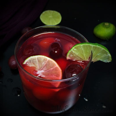 Grape limeade/ lemonade is a non alcoholic beverage you can serve for a spooky Halloween as well as a Peace filled Thanksgiving get-together. This colorful drink is also kid-friendly. This healthy homemade limeade is a great pair with any savory dish. Get more healthy recipes at myeatingspace.com