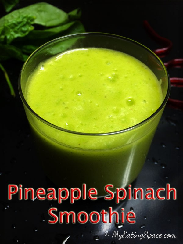 Pineapple spinach smoothie makes a healthy mix of delicious frothy drink for your breakfast. The vibrant colored smoothie with very few ingredients will definitely make you feel better.