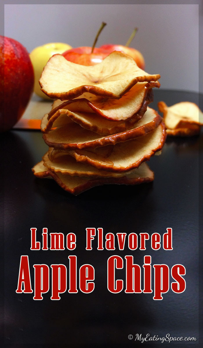 Oven baked apple chips with lime flavor is a delectable crispy sweet snack that you can easily make at home without a dehydrator. Any flavor can be added to make your style of apple chips like cinnamon, cardamom, cloves, orange etc.