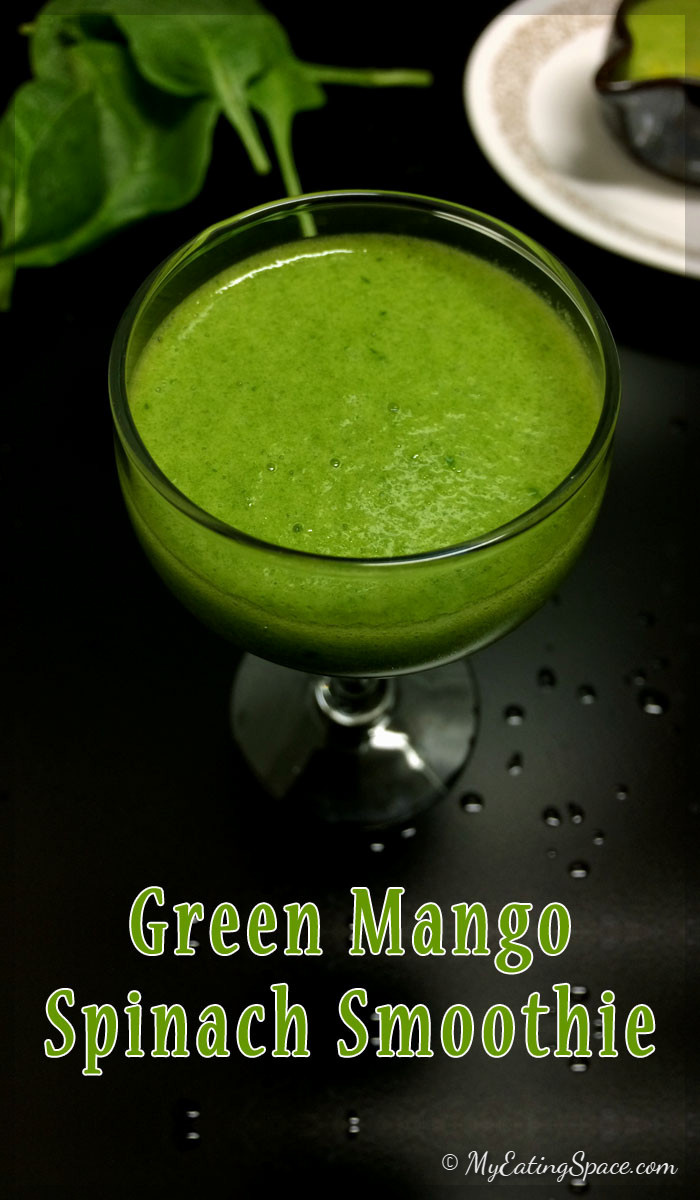 Unripe green mango spinach smoothie is a hydrating drink with a balanced sweet and sour flavor and keeps you healthy. Green mangoes are added raw. The drink is purely vegan and gluten free. Get more recipes at myeatingspace.com