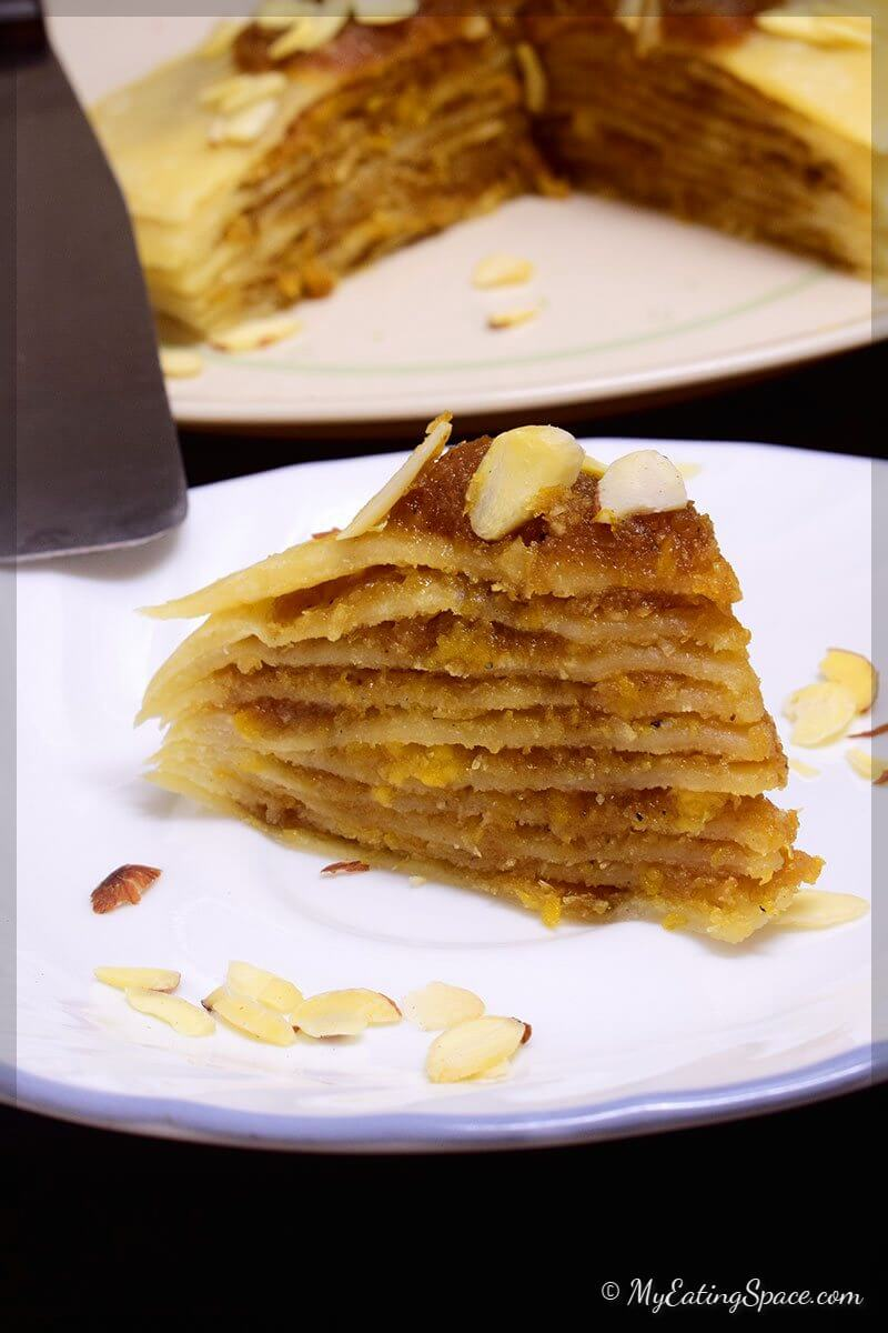 Vegan Crepe Cake- made without eggs, butter or milk. This no-bake cake also called pancake is a treat in itself that can be made in 30 minutes. Each crepes are separated by sweet coconut-plantain filling. More recipes at myeatingspace.com