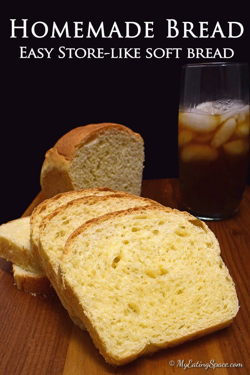 Best homemade bread ! These airy and soft bread loaf will turn out good every time you make it. The bread is made with unbleached flour and milk with no chemicals or preservatives. Enjoy the nice aroma of baked bread. Get more recipes at myeatingspace.com