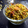 Sprouts salad made with mung beans (green gram) in Indian style makes a satisfying and comfortable protein food. Flavored with spices make it unique tasting