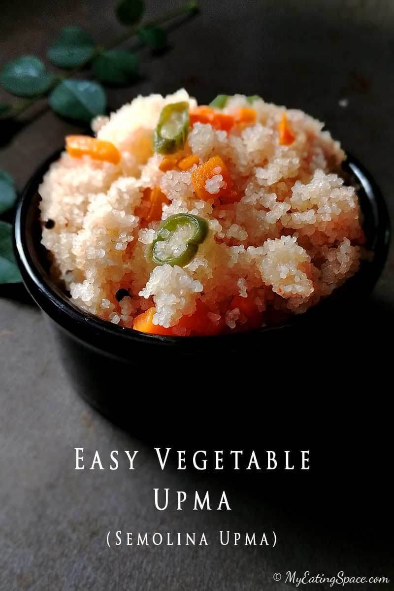 Vegetable Upma, highly adaptable, nutritious healthy vegan recipe from the South-Indian cuisine.